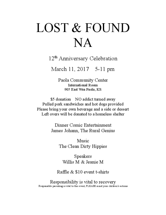 Lost & Found Anniversary
